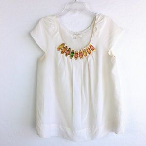 Kate Spade Silk Ivory Cap Sleeve Jeweled Blouse
